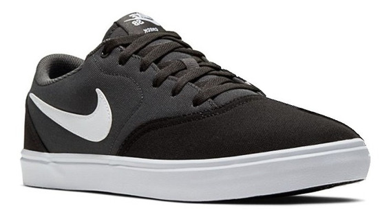 Zapatillas Nike Sb Check Solar Canvas 843896-023 Negro Gris