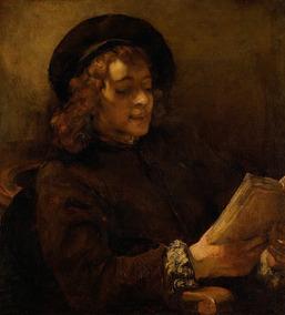 Filho Artista Titus Lendo De Rembrandt Na Tela 100cm X 82cm