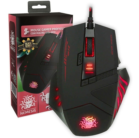Mouse Gamer Macro Black Series 5+ 4000 Dpi Rgb Nm-798