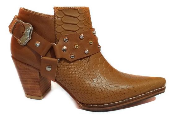 Zapato Mujer Bota Texana Cuero Croco Artesanal C/ Cierre