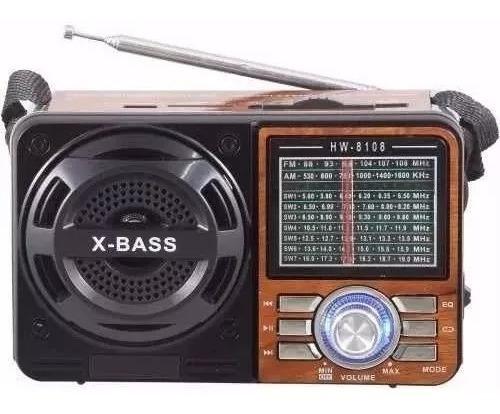 Radio Recarregável Usb/sd.am/fm.a 1088.x Bass.cartão Memória