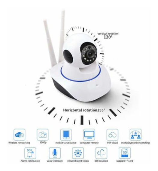 Camara Wifi 360 Seguridad Nocturna Micro Sd Tienda Chacao