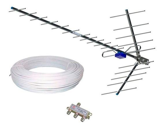 Cabo 50m Antena Digital Externa Hdtv Boca De Jacare Divisor