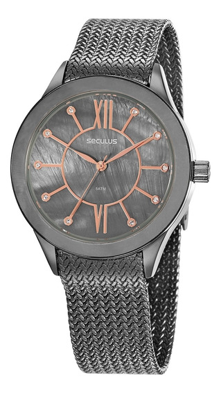 Relógio Seculus Feminino Com Pulseira Esteirinha 20841lpsvss