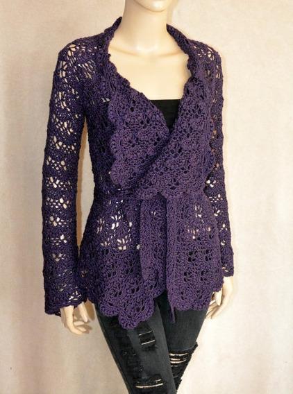 Casaco De Crochê Vazado Tricot 100% Feito A Mão