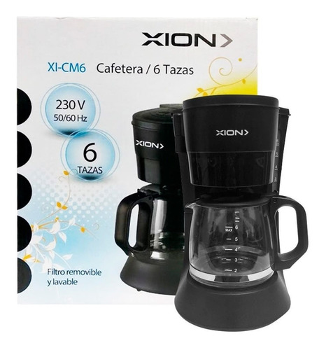 Imagen 1 de 5 de Cafetera 6 Tazas Filtro Permanente Cafe Molido Xion Cm6