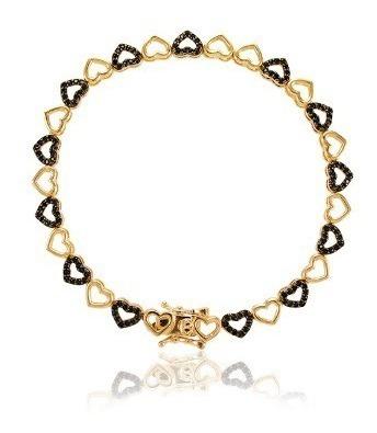 Pulseira Luxuosa Zircônias Cravejadas Banho Ouro 18k Coração