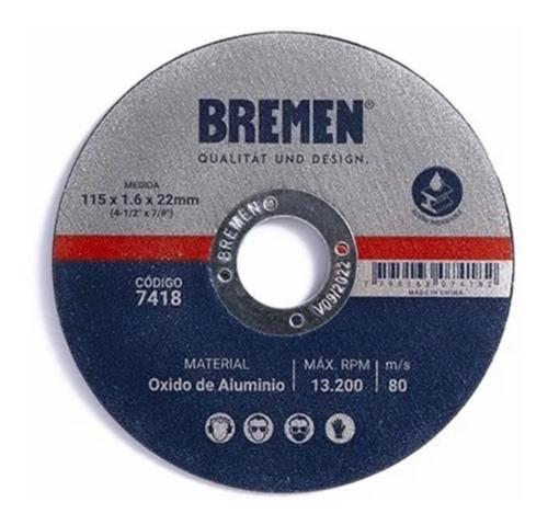 Imagen 1 de 3 de Disco De Corte Amolador Metal115 X 1.6 Mm X 25 U Bremen 7418