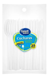 Cucharas Desechables Great Value De Plástico Tamaño Pasteler