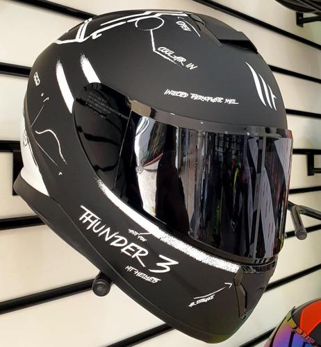Imagen 1 de 10 de Casco Mt Helmets Thunder 3 Sv Board Mate Negro Con Blanco