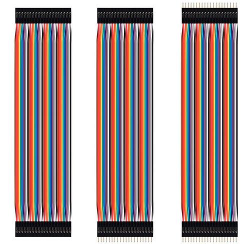 Imagen 1 de 1 de Cables Jumpers Dupont H-h, M-m, H-m 20cm 120 Pzas. Arduino