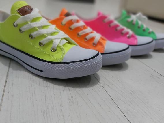 Zapatillas Lona Fluo !!!!! 37 38 39 Naranja O Rosa Fluor