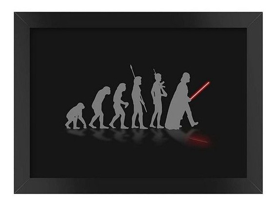 Quadro Poster Star Wars Darth Vader Evolution Com Moldura A4