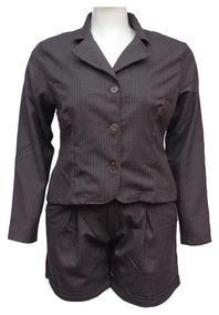 Conjunto Blazer E Shorts Risco Giz Plus Size
