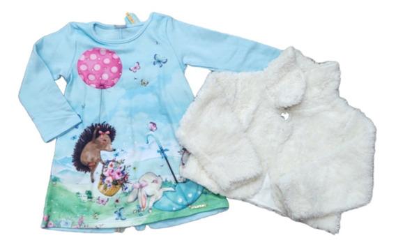 Vestido Frio Bebê Luxo 2pecas Inverno Chic Tam P