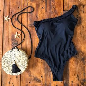 Body Maiô Feminino Moda Praia Um Ombro Só Com Trança