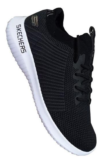 Tenis Skecher Dama Negro Blanco Zapatillas Original