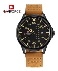 Relógio Masculino Naviforce Couro Calendário Promoção Origin