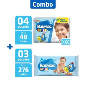 Combo 4 Pcts Fralda Babysec Ultra Xxg + 3 Pcts Toalha Umed