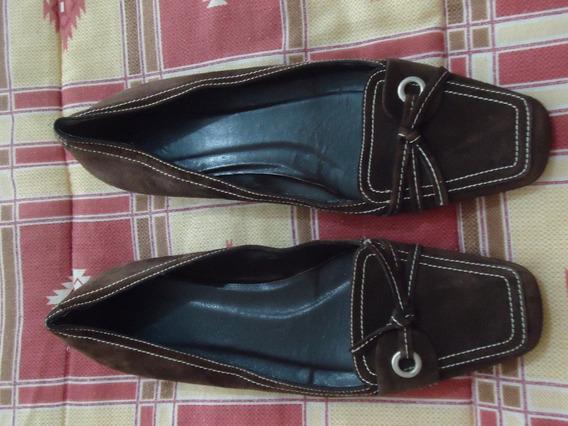 Zapatos Flats Cafes D Gamuza Zara 100% Originales # 4 Dama