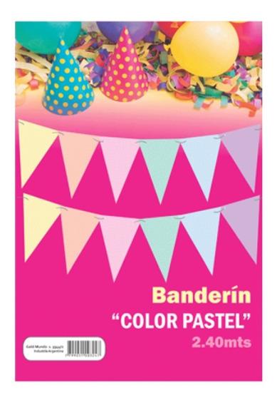 Banderín Multicolor Color Pastel X 2,40mts - Ciudad Cotillón