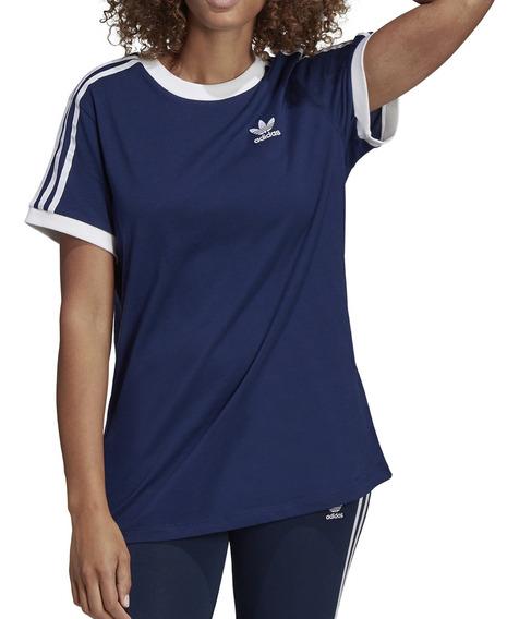 Remera adidas Originals Moda 3 Stripes Tee Mujer Mn/bl