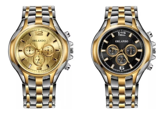Relógio Analógico Masculino Orlando Pct Com 2 Unds Mod Luxo