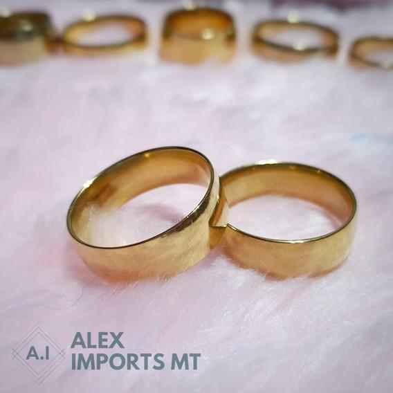 Aliança Banhada Ouro Casamento Tamanho 18 Barato Alex Import