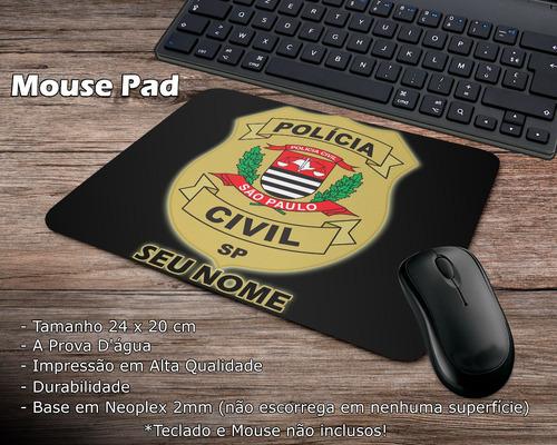 Mouse Pad Preto Polícia Civil São Paulo Com Seu Nome