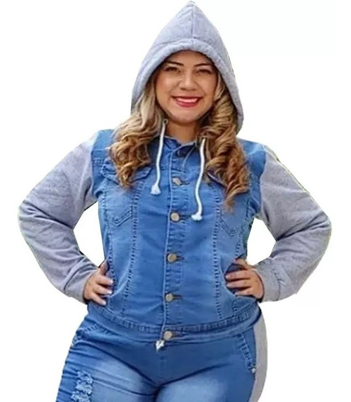 Jaqueta Jeans Moletom Azul Plus Size Feminina Capuz Blusa