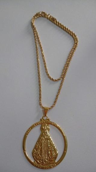 Colar Cordão 45cm Com Medalha De Aparecida Folheado A Ouro18
