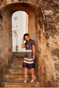 Vestido De Renda Festa Azul Listras Branca Moda Evangélica