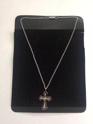 Colar Com Crucifixo Folheado Correntinha C/ Crucifixo Prata
