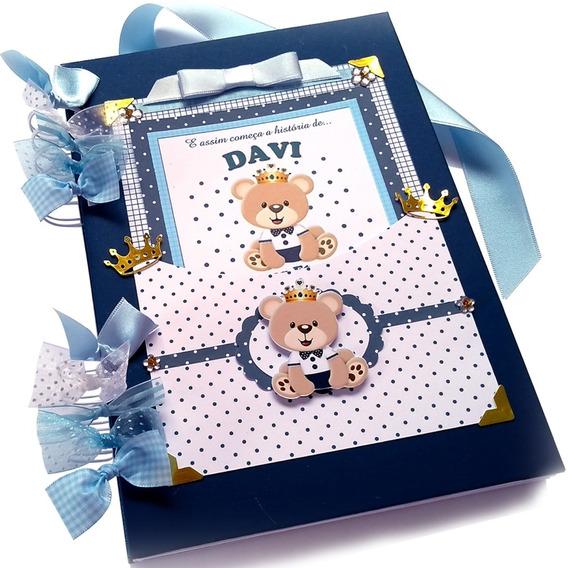 Álbum Fotos Diário Bebê Personalizado Urso Príncipe F Grátis