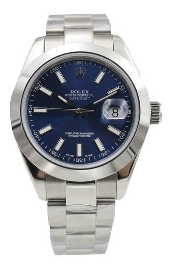 Relógio Datejust Blue Dial Vidro Safira Automático