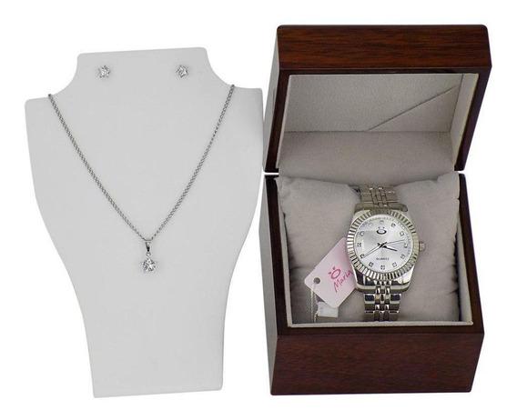 Relógio Feminino Prata Analógico Aço Inox Quartz Colar E
