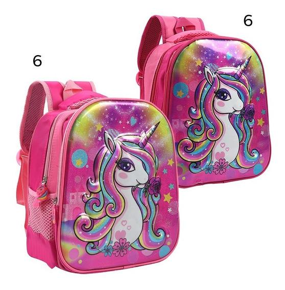 Mochila Espalda Trendy Unicornio Con Rosa 3d Brillos 13 8655