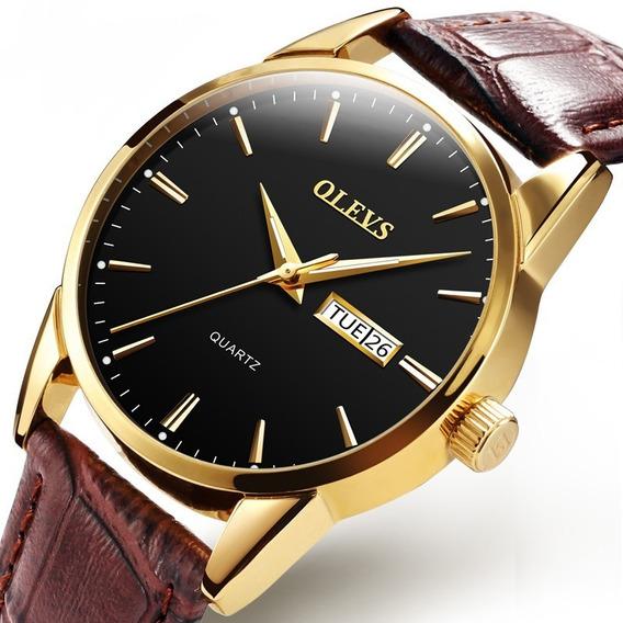 Relógio Masculino Dourado Social Olevs Pulseira Em Couro