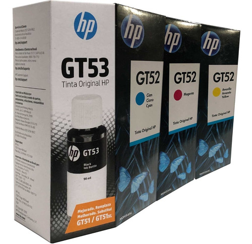 Combo 4 Botella Tinta Hp Gt53 Negro Gt52 Cian Magenta Amarillo Originales