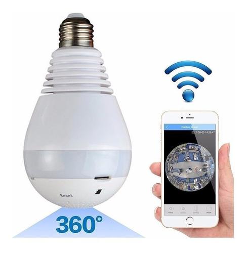 Camara Ip Wifi Full Hd Lampara Espia Sensor Lente 360º Led