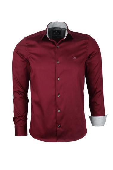 Camisa Delux Manga Longa Acetinado Com Elastano Slim -