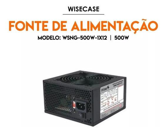 Fonte Atx 500w Reais Wisecase C/ Cabo De Força