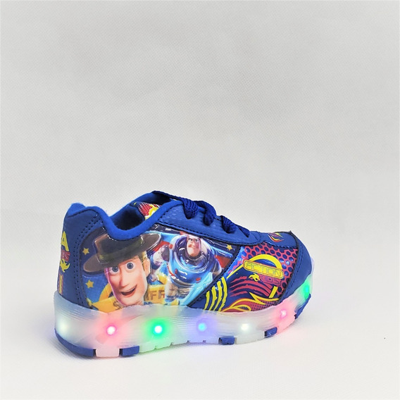 Tenis Niño Luces Led Toy Story Azul Marino Buzz Woody