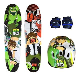 Skate Infantil Ben 10 + Acessórios Segurança+personagens.