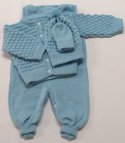 Conjunto Rn Com Salopete,casaco,touca E Luva Azul Lavanda