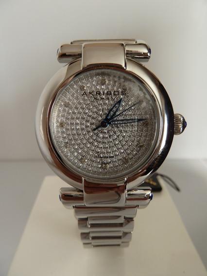 Reloj Akribos Xxiv Con Diamantes Y Estuche Original (ref 1401)