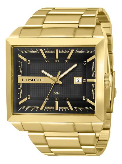 Relógio Masculino Lince Dourado Quadrado Mqg4267lp1kx