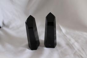 Pontas Cristal Gêmeas Obsidiana Negra 530 Gramas Promoção