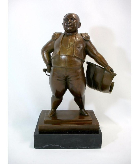 Escultura Em Bronze Estilo Botero Belíssima Rara Inigualável