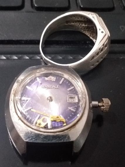 Relógio Orient Feminino Azul E Prata Quebrado Completo Viole